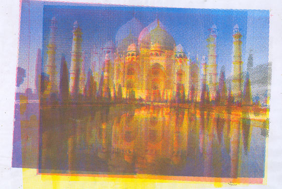 Raju GC, Taj Mahal, Silkscreens on cloth, Select frame out of 8 prints, 2007.