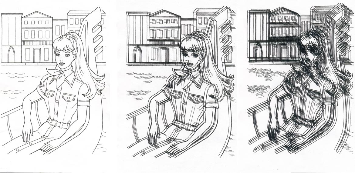 Raju GC, Barbie in Front of a House (Select Details), 132 A4 Black & White Photocopies, 3 Panels, each 121.92 x 243.84 cm; 2007