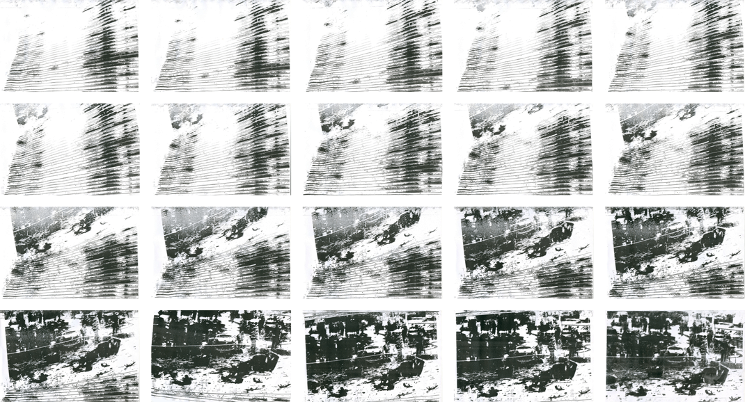 Raju GC, Skyscraper, Video Installation (multiple frames), 53 Seconds, Black and White, Sound, Played on Seamless Loop, 2009