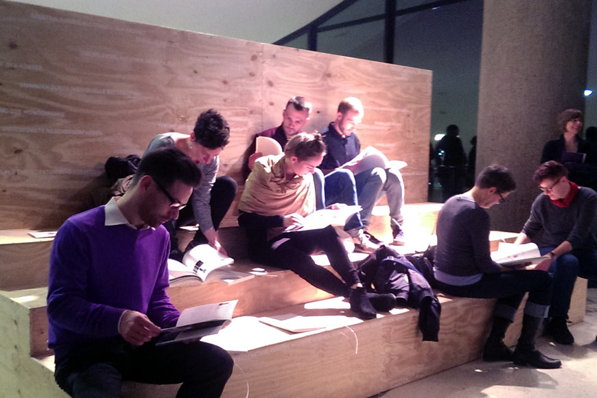 Installation View (back), visiters reading the booklets at Haus der Kulturen der Welt (HKW), Berlin, November 2015 , Photo - Raju GC