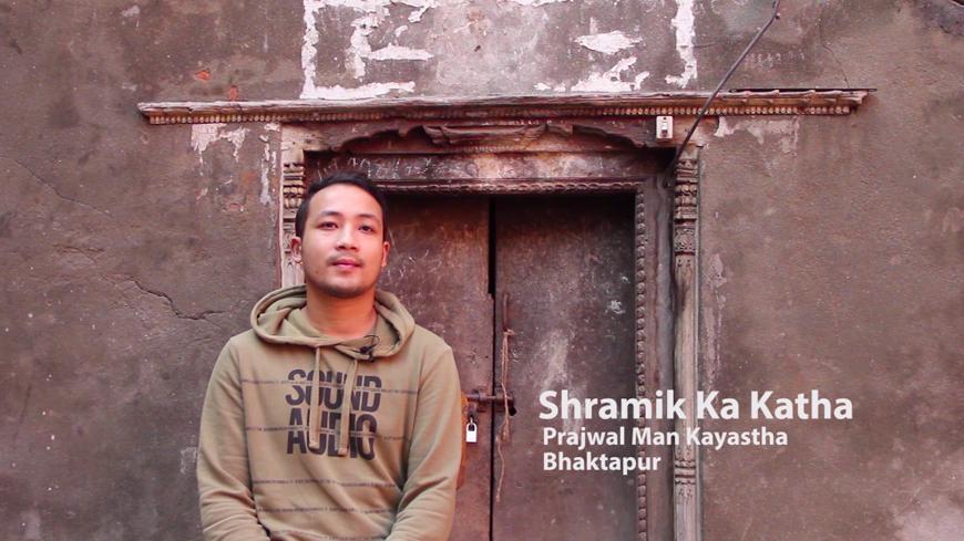 Raju GC, Shramik ka Katha (Migrant's Story) - Interviewee Prajwal Kayastha, Multimedia Installation, Audio Stories and Video Screenings, Chysal, 2018