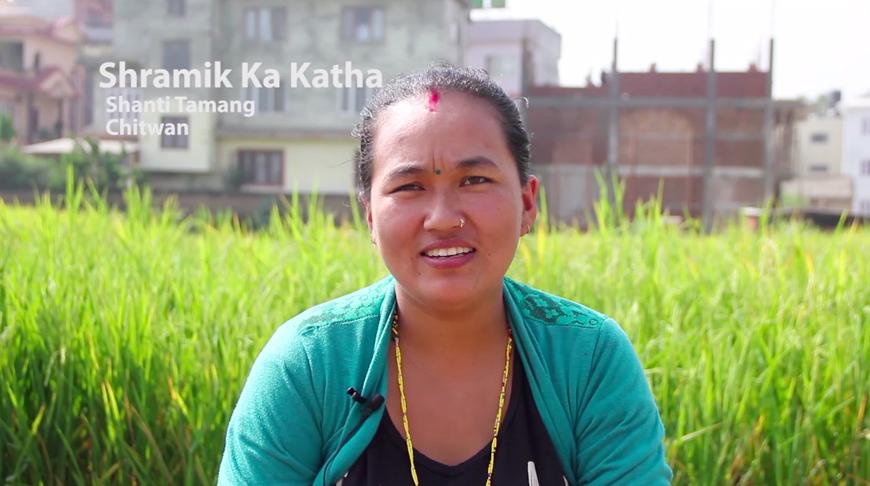 Raju GC, Shramik ka Katha (Migrant's Story) - Interviewee Shanti Tamang, Multimedia Installation, Chysal, 2018